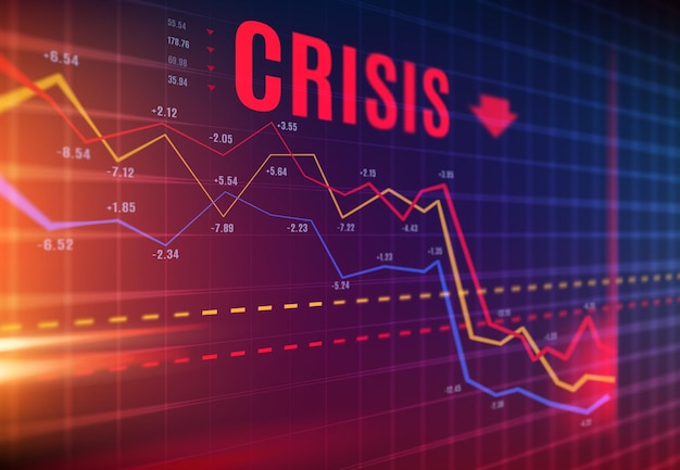 Crisis or stock crash on market, loss trading and investment indicators downturn, vector. stock exchange market and financial business crisis and economic fall down with flow charts and diagram