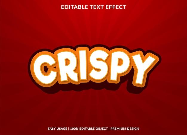 Crispy editable text effect template premium vector