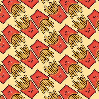 Crispy french fries seamless pattern with red paper boxes of fried potato vector illustration