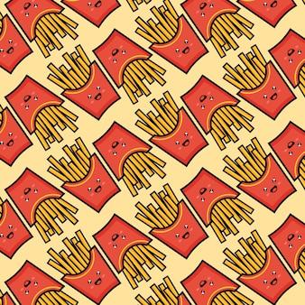 Хрустящий картофель фри бесшовные модели с красными бумажными коробками жареного картофеля векторные иллюстрации