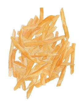 Хрустящий картофель фри фаст-фуд акварель