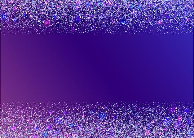 크리스탈 반짝임. 글리치 글레어. 홀로그램 글리터. 축제 예술. 금속 현실적인 햇빛. 보라색 파티 틴셀. 디스코 플라이어. 유니콘 호일. 바이올렛 크리스탈 반짝임