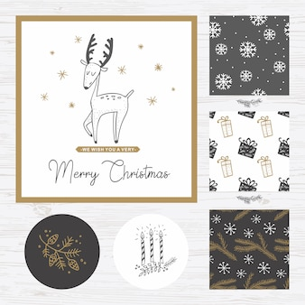 Cristmas card with deer and patterns