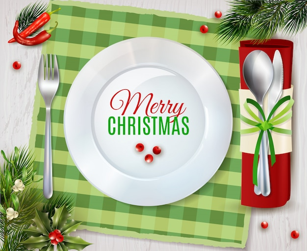 Cristmas dinner cutlery realistic composition poster