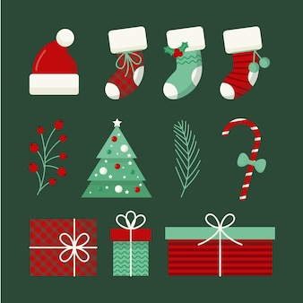 Cristmas element collection in flat design