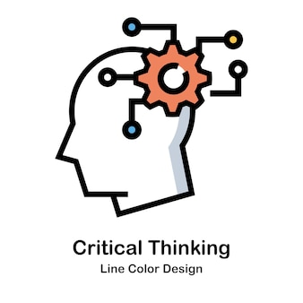 Critical thinking line color icon