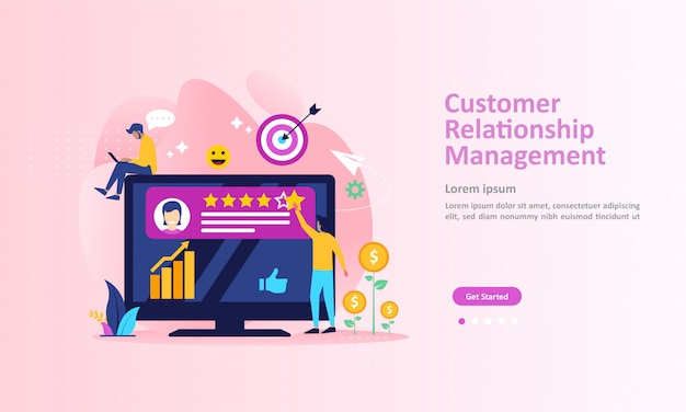 Crm, analysis customer service landing page