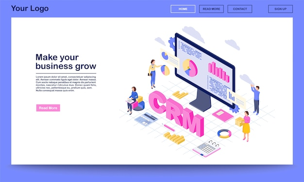 Crm for business growth isometric landing page  template.