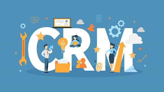 Crmの概念図。ビジネスとテクノロジーのアイデア。