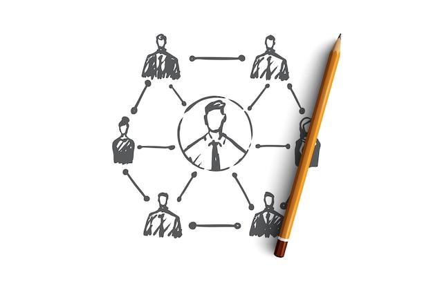 Crm, клиент, бизнес, анализ, маркетинговая концепция. ручной обращается система эскиза бизнес-концепции.
