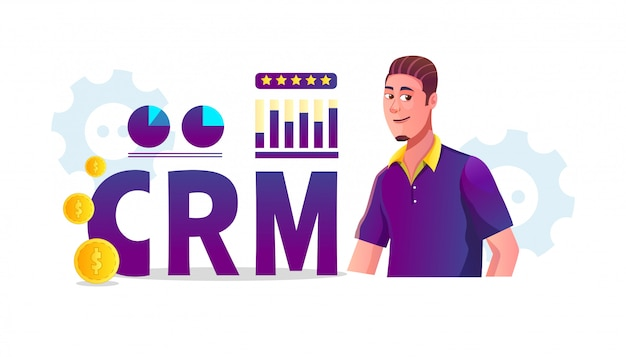 Crm (customer relationship management) concept illustration with business statistics and customer adult men are reviewing