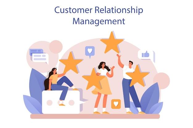 Crm or customer relationship management concept set