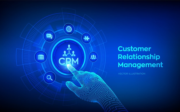 Crm. customer relationship management concept on virtual screen. customer service and relationship. robotic hand touching digital interface.