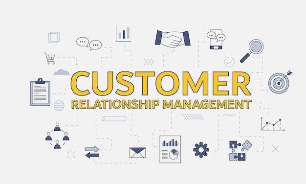 중앙에 큰 단어 또는 텍스트가 있는 아이콘이 있는 crm 고객 관계 관리 개념