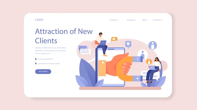 Crm or customer relationship management web banner or landing page. client attracting and guiding. customer experience and approval analysis. marketing strategy. flat vector illustration