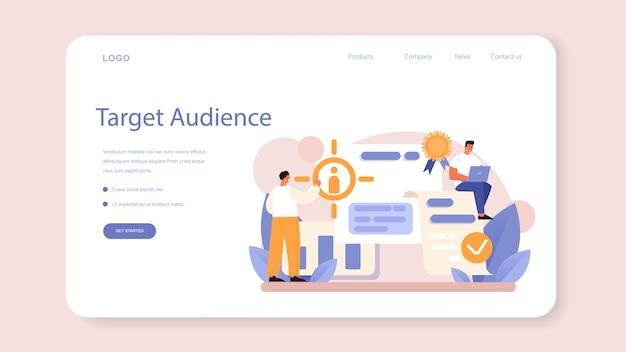 Crm or customer relationship management web banner or landing page