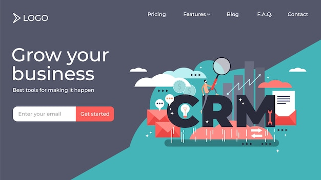 Crm customer relationship vector illustration landing page template design.