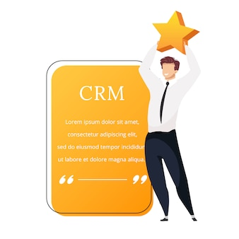 Crm flat color character quote. smiling businessman holding star. good reviews. high rating. customer service. citation blank frame template. speech bubble. quotation empty text box design