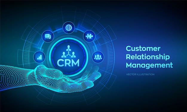 Crm icon in robotic hand. customer relationship management. customer service and relationship concept on virtual screen.