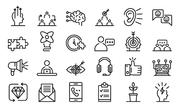 Crm icons set, outline style