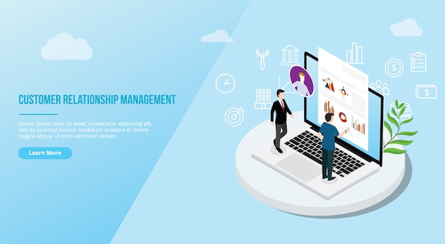 Crm isometric customer relationship management concept