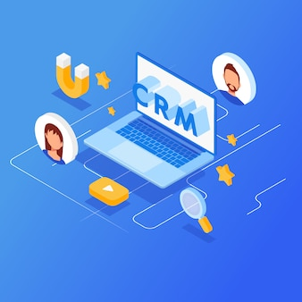 Crm isometric vector illustration.