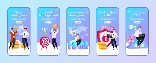 Crm options and types onboarding mobile app screen flat  template. sales intelligence. walkthrough website steps with characters. ux, ui, gui smartphone cartoon interface, case prints set