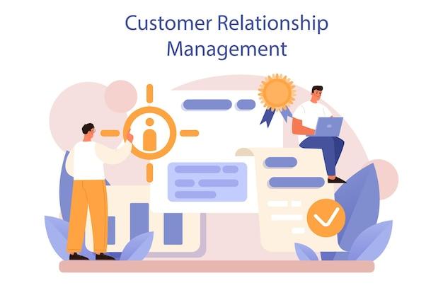 Crm 또는 고객 관계 관리 개념 집합입니다. 고객을 유치하고 안내합니다. 고객 경험 및 승인 분석. 마케팅 전략. 평면 벡터 일러스트 레이 션