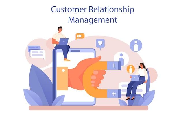 Crm 또는 고객 관계 관리 개념 집합입니다. 마케팅 전략. 평면 벡터 일러스트 레이 션
