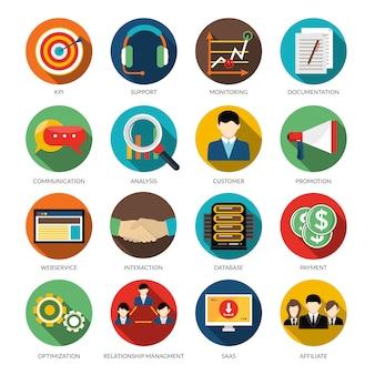 Набор значков crm round icons