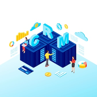 Crm servers isometric vector illustration