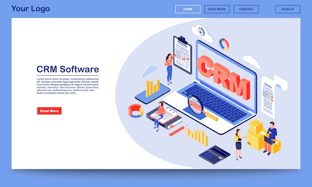 Crm software isometric landing page vector template. working process, workflow organization and optimization service website interface. customer relationship management system 3d concept landing page