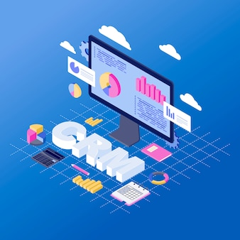 Crm software isometric vector illustration