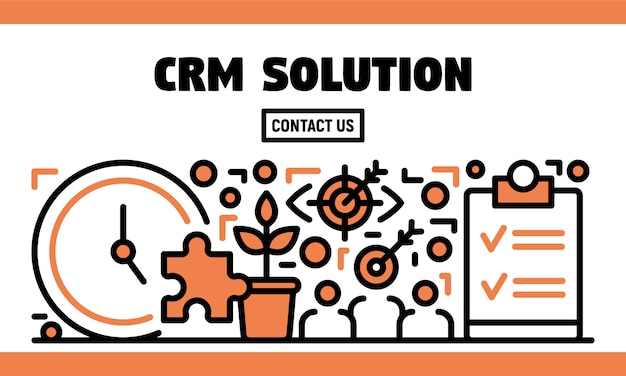 Crm solution banner, outline style