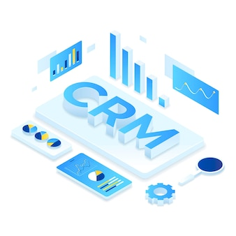 Crm solution isometric illustration concept.