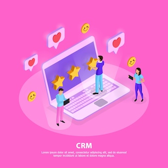 Crm system composition with customers laptop elements of loyalty and rating on pink  isometric