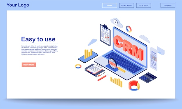 Crm system isometric landing page template