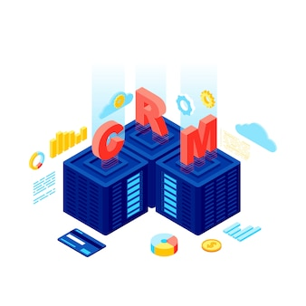 Crm system isometric vector illustration