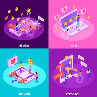 Crm system with review opinion of customer and feed back isometric concept isolated