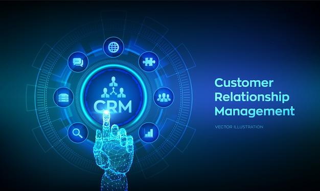 Crm。顧客関係管理。デジタルインターフェイスに触れるロボットの手。