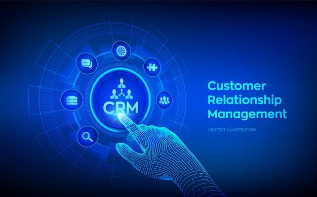 Crm。仮想画面上の顧客関係管理の概念。カスタマーサービスと関係。デジタルインターフェイスに触れるロボットの手。