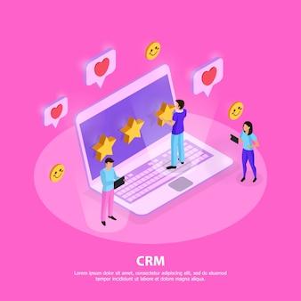 Композиция crm системы с ноутбуком клиентов с элементами лояльности и рейтинга на розовом изометрии