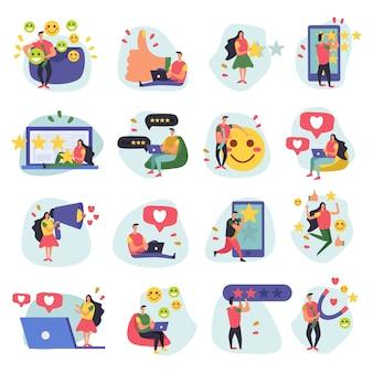 Плоские значки управления взаимоотношениями с клиентами crm из шестнадцати каракули изображений с человеческими персонажами и символами