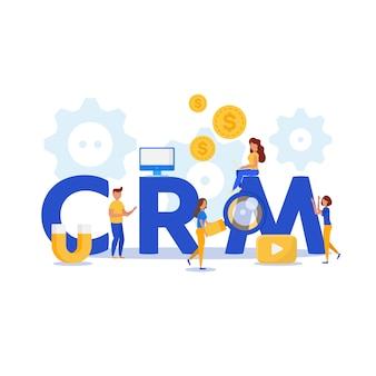Crm концепция дизайна с элементами вектора.