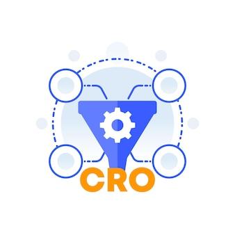 Cro, 전환율 최적화, 판매 깔때기 벡터 아이콘