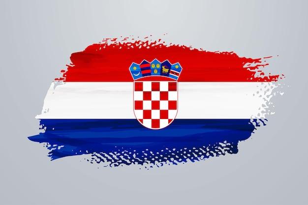 Croatia brush paint flag