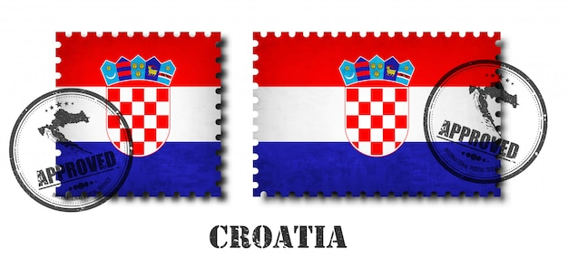 Croatia or croatian flag pattern postage stamp