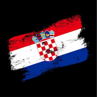 Croatia flag grunge brush background. old brush flag vector illustration. abstract concept of national background.