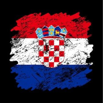 Флаг хорватии гранж кисть фон. старый флаг кисти векторные иллюстрации. абстрактное понятие национального фона.