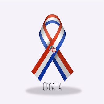 Croatia flag ribbon design